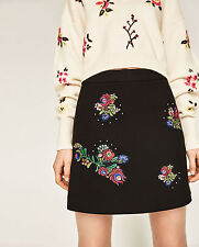 Zara SS17 Mini Skirt With Floral Embroidered Patches Black M Medium BNWT