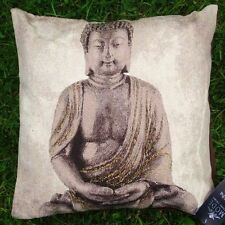 "18"" SITTING BUDDHA CUSHION, CHOCOLATE & GOLD OR SILVER JACQUARD TAPESTRY EFFECT"