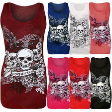 Womens Halloween Forever Young Skull Printed Ladies Sleeveless Vest Top T Shirt
