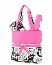 New Belvah quilted floral black or pink pattern 3PC diaper bag QNF1103L BABY