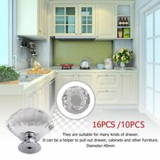 40mm Round Diamond Clear Crystal Glass Door Pull Drawer Knob Handle Cabinet OZ