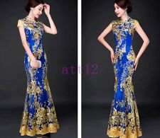 Cheongsam New Dress Long Wedding Dress QiPao Chinese Evening Gown Fishtail Dress