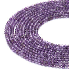 """Amethyst Faceted Round Gemstone Loose Beads 3mm 15.5"""" Long"""