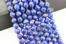 "Lapis Lazuli Faceted Round Gemstone Loose Beads 6mm/8mm 15.5"" Long"
