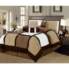 Full size 7-Piece Bed in a Bag Patchwork Comforter set in Brown White