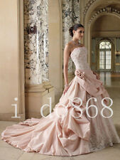 Best Seller Ball Gown Strapless Lace up Back Applique Pink Wedding Dress Custom