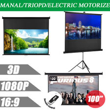 """100"""" 16:9 Manual/Electric Motor/Tripod Home Office Projector Projection Screen"""