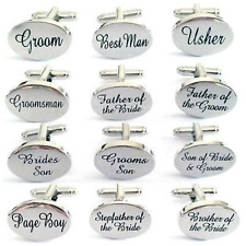 Silver Engraved Custom Cufflinks Cuff & Links Gift Wedding Personalised Usher