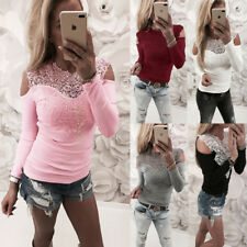 Womens Long Sleeve Lace T-Shirt Ladies Loose Tops Blouse Cold Shoulder Tee Top
