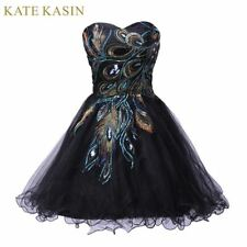 Sexy Tulle Ball Gown Embroidery Peacock Cocktail Dress Black White Party Gown Sh