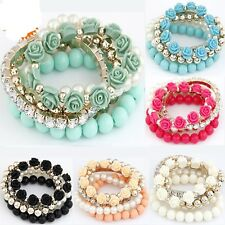 Charm Bracelet Candy Color Pearl Rose Flower Multilayer Beads Stretch Bangles