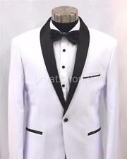 Men's WHITE TRIM Tux Suit Jacket - TUXEDO SATIN TRIMS - Size L to XXL - 80% WOOL