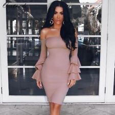 Ocstrade Sexy Women Nude Butterfly Sleeve Off Shoulder Dress Club Party Cocktail