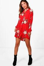 NEW Boohoo Womens Penelope Floral Shirt Dress in Polyester