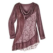 Women's Tunic Top - Mixed Mauves Floral Lace Knit Blouse - Cowl Neck