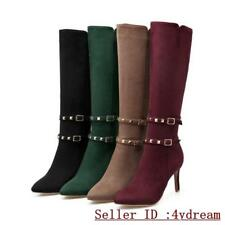 Pointy Toe Womens Stiletto High Heel Shoes Faux Suede Buckle Knee High Boots 123