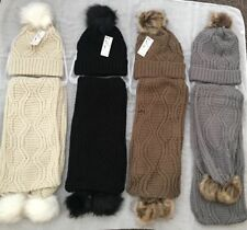 Ladies Woolly Thick Knit Hat Scarf Pom Pom Women Scarf and Hat Set