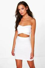 NEW Boohoo Womens Ruby Wrap Crop And Mini Skirt Co-ord in Cotton