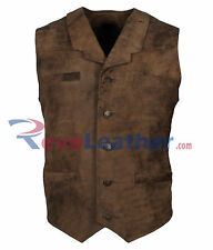 Antique Brown 100% Genuine Distressed Mens Leather Vest Jacket - SALE