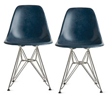 AUTHENTIC Eames Molded Wire-Base Side Chairs Navy DFSR - DWR Herman Miller
