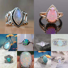 Retro 925 Silver Ring Gemstone Moon Stone Fire Opal Wedding Party Ring Size 6-10