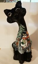 FENTON BLACK SATIN ALLEY CAT HP ONE OF A KIND SNOWMAN & FOREST ANIMALS