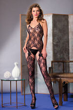 sexy BE WICKED bow LACE suspender HALTER sheer CAMI-GARTER nylons BODY STOCKING