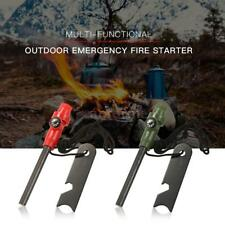Magnesium Flint Stone Fire Starter Rod Survival Camping w/ Whistle &Compass C7L7