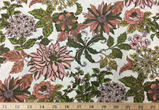 Large Floral Olive Green Salmon Pink Peach Ivory Flowers Cotton Fabric a3/16