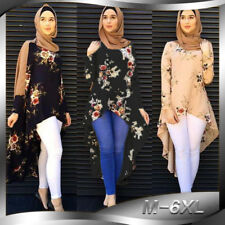 Muslim Womens Abaya Islamic Asymmetric Longsleeve Blouse Shirts Irregular Dress