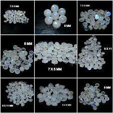 NATURAL RAINBOW MOONSTONE WITH BLUE FLASH ROUND CABOCHON LOOSE GEMSTONE