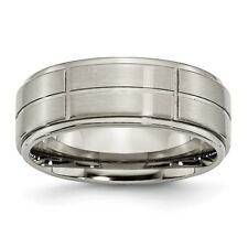 Titanium Grooved Ridged Edge 8mm Satin and Polished Band