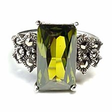 (SIZE 6,7,8,9)  PERIDOT STONE RING Baguette Gem Marcasite .925 STERLING SILVER