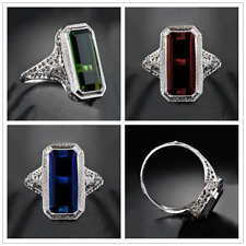 Princess Cut 8.2CT Gemstone 925 Silver Ring Women Men Engagement Wedding Sz 6-10