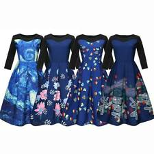 Women Fashion Long Sleeve Starry Sky Print Swing Party Dress Retro Hepburn Style