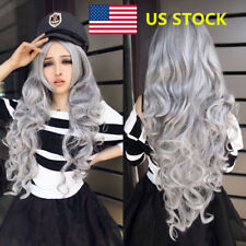 Women Curly Wavy Synthetic Long Grey Hair Wig Anime Cosplay Party Full Wig+Cap
