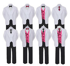 5-7pc Formal Black White Suit Set Burgundy Bow Necktie Vest Boy Baby Sm-20 Teen