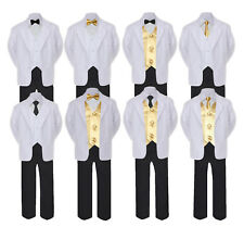 5-7pc Formal Black White Suit Set Mustard Bow Necktie Vest Boy Baby Sm-20 Teen