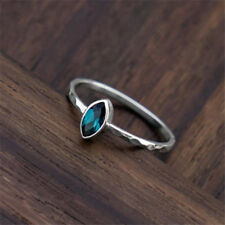 Trendy Women Natural Sapphire 925 Silver Ring Jewelry Wedding Engagement Sz 6-10