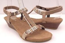 WOMENS/LADIES Med Wedge Low Heels Bead AUYI Ankle Strap Comfy Cute SANDALS Shoes