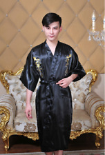 Men's Chinese Dragon Kimono Sleepwear Gown Bath Robe Nightwear Black .l