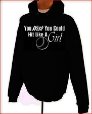 You Wish You Could  Hit Like A Girl Softball BLACK Pullover Hoodie S-XL NEW