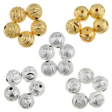 50Pcs 10mm Charms Loose Round Ball Copper Flower Spacer Beads Jewelry Making
