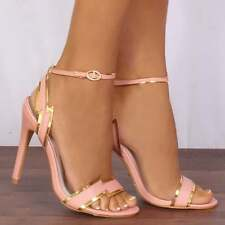 PINK AND GOLD METALLIC BARELY THERE ANKLE STRAPS STILETTOS PEEP TOES HIGH HEELS