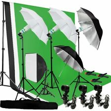 Photography Umbrella Lighting Kit Studio Bulb Muslin Backdrop Support Stand MY