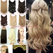 US Real Natural as Human Secret Invisible Wire Hair Extensions Straight Big Wavy