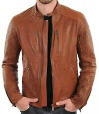 Jacket Leather Motorcycle Mens Tan Real Lambskin New Biker Coat Vintage MJ872