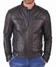 Jacket Leather Motorcycle Mens Black Real Lambskin New Biker Coat Vintage MJ796