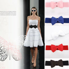 Fashion Lady Women Bowknot Elastic Bow Wide Stretch Buckle Waistband Waist Belt