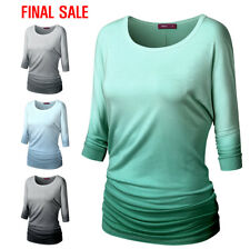 [FINAL SALE]Doublju Womens 3/4 Sleeve Round Neck Loose Fit T-Shirts